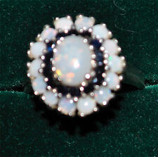 Sapphire and Opal Sterling Silver Ring