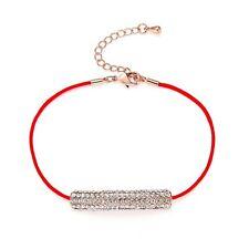 Bracciale Corda Stringa rosso strass cristallo gioielli ciondolo Barra Bracciale in oro rosa