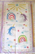 "Sparkle Magic Shine Unicorn Rainbow Fantasy Fabric 23"" Panel  #83101"