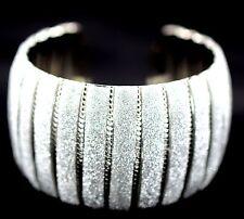 Women Wide Strip Fluorescence Cuff Bracelet Silver Tone Fashion Jewelry BD15