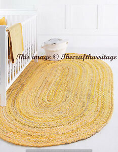 Reversible Oval Braided Yellow Cotton Rug Floor Rags Area Rug Chindi Braided Rug