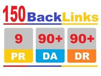 Manually 150 Pr9 DA90 SEO High Authority Backlinks ranking website seo google