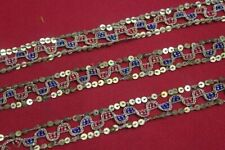 Antique Vintage Sari DOLL craft hand beaded border ribbon lace ZARDOSI ZARI
