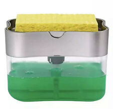 Manual 2-in-1 Sponge Box with Soap Dispenser Plastic Double Layer Kitchen Tool
