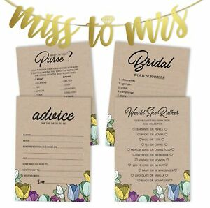 Inkdotpot Rustic Kraft Floral Bridal Shower Games Set Of 4(50 Sheets-syB