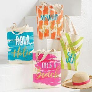 Mud Pie E8 Women's Fashion Life's A Beach Canvas Tote 8613349 Choose Design