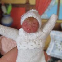 Artisan Tiny SCULPTED NEWBORN BABY DOLL Miniature Dollhouse Artist Handmade OOAK