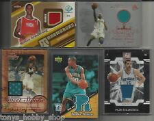 New Orleans Hornets Game/Event Worn Used Jersey 5 Card Lot Basketball