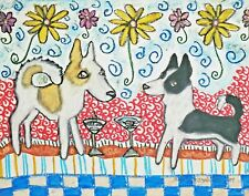 Canaan Dog drinking a Martini Art Print 5 x 7 Collectible Signed by Artist Ksams