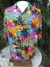 Hawaiian ALOHA shirt XL pit to pit 25 UNBRANDED rayon Jamaica tropical colorful