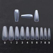500 x Full Cover False Nail Art Tips Clear Ballerina Coffin Style Long @YF lskn