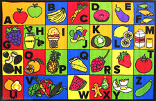 "3x5 Educational Rug ABC Food & Names Fruit Kids School Time 3'3""x4'10"" New"
