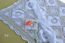 "Gorgeous Hand Crochet Cotton White Tablecloth Rug Patchwork 50x72"" Coverlet"