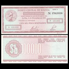 Bolivia 100000 100,000 Pesos, 1984, P-188, UNC