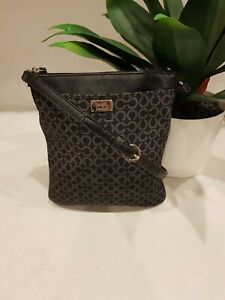 EXC  CONDT COACH BLACK SIGNATURE CANVAS AND LEATHER CROSS BODY BAG  HIP BAG