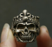 Collected Rare Chinese Miao Silver Animal skull men's Style Wedding Ring 001