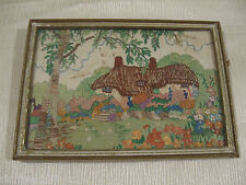 Antique 1920's 1930's English Cottage Garden Hand Made Embroidery Needlepoint