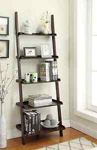American Heritage 5-Shelf Leaning Bookshelf Ladder Wood Bookcase Storage, Brown