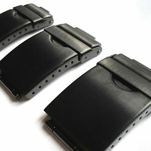 Watch Bracelet Black Catch Clasp Stainless Steel Replacement 3-Fold Tri-Fold