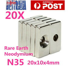 20X Super Strong Block Magnets 20x10x4mm Hole 5mm Rare Earth Neodymium N35