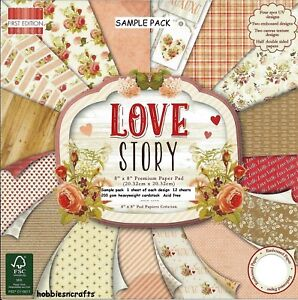LOVE STORY Dovecraft 8 x 8 Sample Paper Pack - 16 sheets Floral Hearts Tags