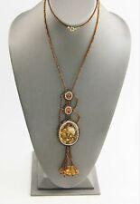 "28"" VINTAGE ESTATE Jewelry TOPAZ ART GLASS SEED BEAD HIPPIE PENDANT NECKLACE"