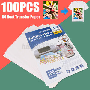 100 Sheets A4 Heat Transfer Paper Iron Press For Light Color Non-cotton T-shirt