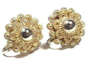 Beautiful Vintage Sterling Silver Gold Vermeil Filigree Design Screwback Earring