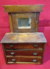 Chest of Drawers / Doll Dresser Miniature w Mirror Antique Wood Furniture