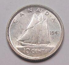 1943 Ten Cents AU+ Beautiful HIGH Grade WWII King George VI Silver Canada Dime