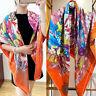 70% Cashmere 30% Silk Thin Scarf Tribal Style Feather Print Blanket Shawl 135cm