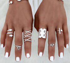 8pcs/Set Adjustable Women Bohemian Vintage Silver Rings Above Knuckle Rings Set