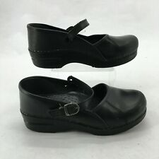 Dansko Mary Jane Clog Wedge Casual Comfort Shoes Buckle Leather Black Womens 39