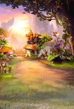 Mushroom House Jungle Cartoon Photography Backgrounds 5x7ft Vinyl Photo Backdrop