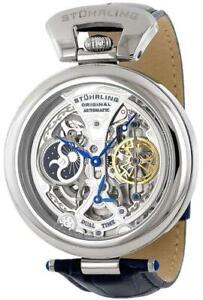 Stuhrling 127A Blue Emperor Tourbillion Style Automatic Dual Time Men Watch