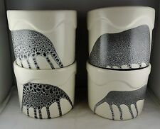 4 Lapid Israel Art Pottery Hand Painted Drip Glaze Ceramic Pots - Mid Century