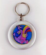 1982 Walt Disney Productions Pete's Dragon Round Keychain Rainbow Vintage clear