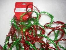 Red and Green Christmas Tinsel Chain Garland Merry Brite 8ft