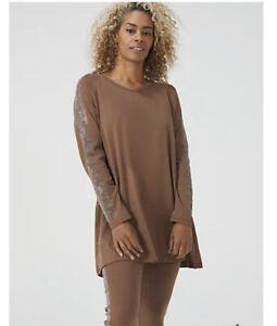 Frank Usher V Neck Embellished Star Jersey Long Sleeve Tunic Top Brown Medium
