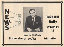 1969 Tv Ad ~ MARSH McCARTY~News on WTAP in  Parkersburg/Marietta,West Virginia