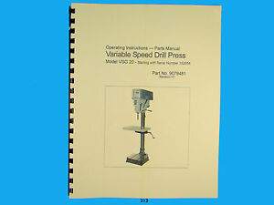 Wilton Model VSG-20 Variable Speed Drill Press Op Instruct & Parts Manual *312