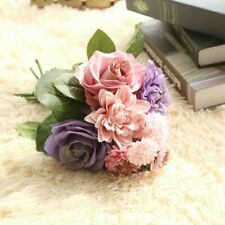 8-Head Artificial Rose Bouquet Silk Fake Flowers Bridal Wedding Party Home Decor