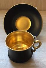 VINTAGE CAULDON CHINA BLACK AND GILT COFFEE CUP AND SAUCER