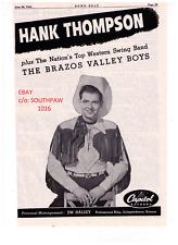 1954 Hank Thompson and theThe Brazos Valley Boys Debut Album Print Advertisement