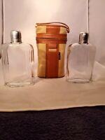 Vintage Flask Set Safari Noymer Leather Portable Drink Bar