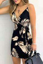 Black Palm Leaf Print Wrap Front Adjustable Straps V-Neck Short Dress SMALL 4-6