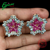 Pear Ruby Only Heated Blue Zircon Rose Gold Plate 925 Sterling Silver Earrings