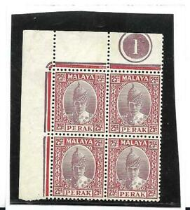 Perak 1938 Sultan 25c Grey and Scarlet SG 115 Plate Number 1. block of four MNH