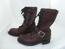 VINTAGE DOUBLE H HH WOMEN 6 M BROWN LEATHER MILITARY/COMBAT BOOTS ZIP/BUCKLE