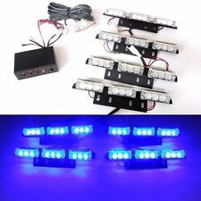 12V 9 LED 4 Bars Blue Car Flashing Emergency Grille Light Recovery Strobe in UK